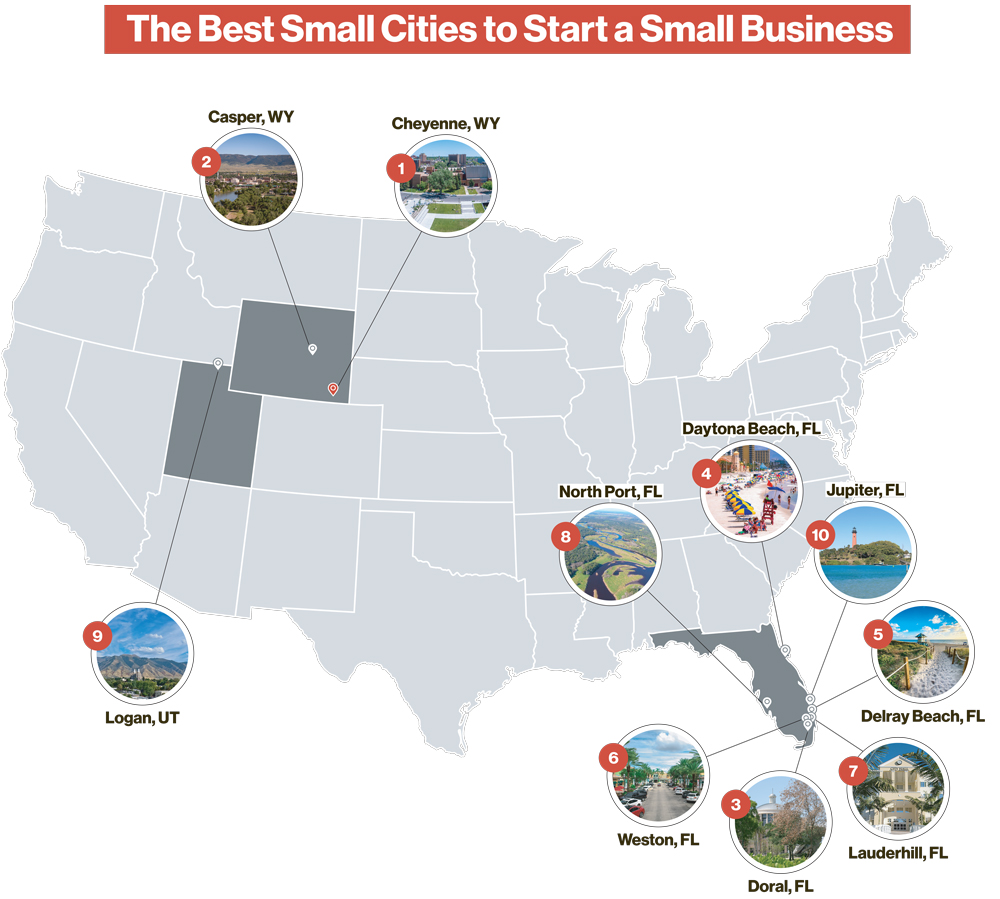 Map of Best Small Cities for Small Business