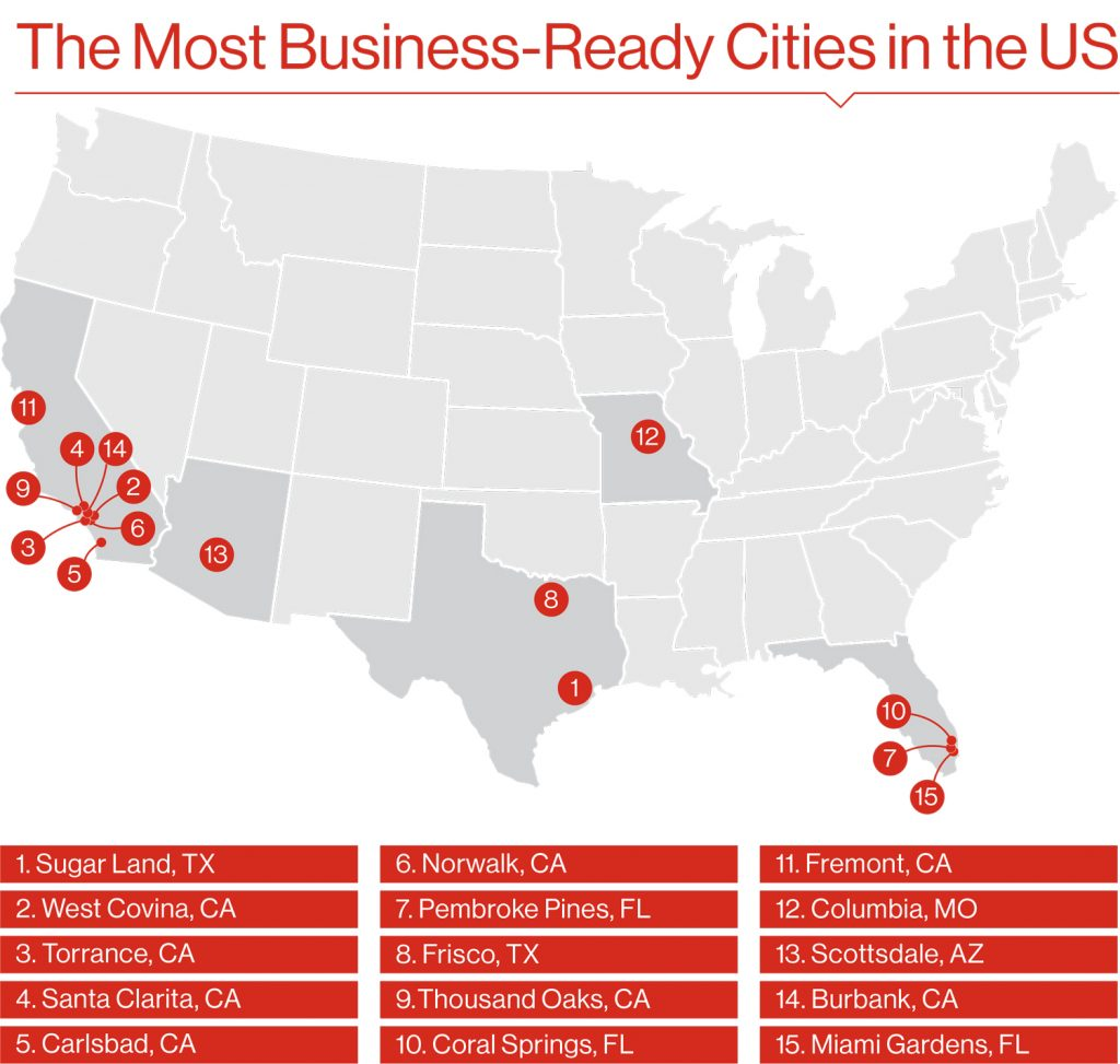 The Most Business-Ready Cities in the US map